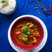 Curried Vegetables with Indian Pickled Spices (Achari Veg Curry)