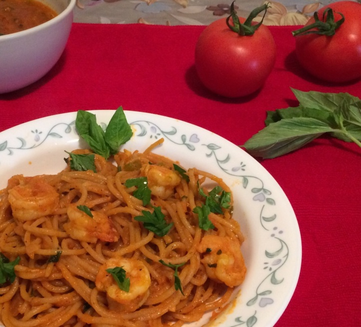 Spaghetti with Shrimp and Marinara Sauce