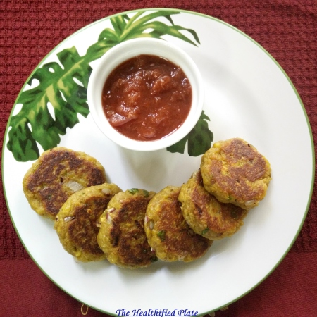 Raw Plantain Tikkis with Aloo Bhukara Chutney