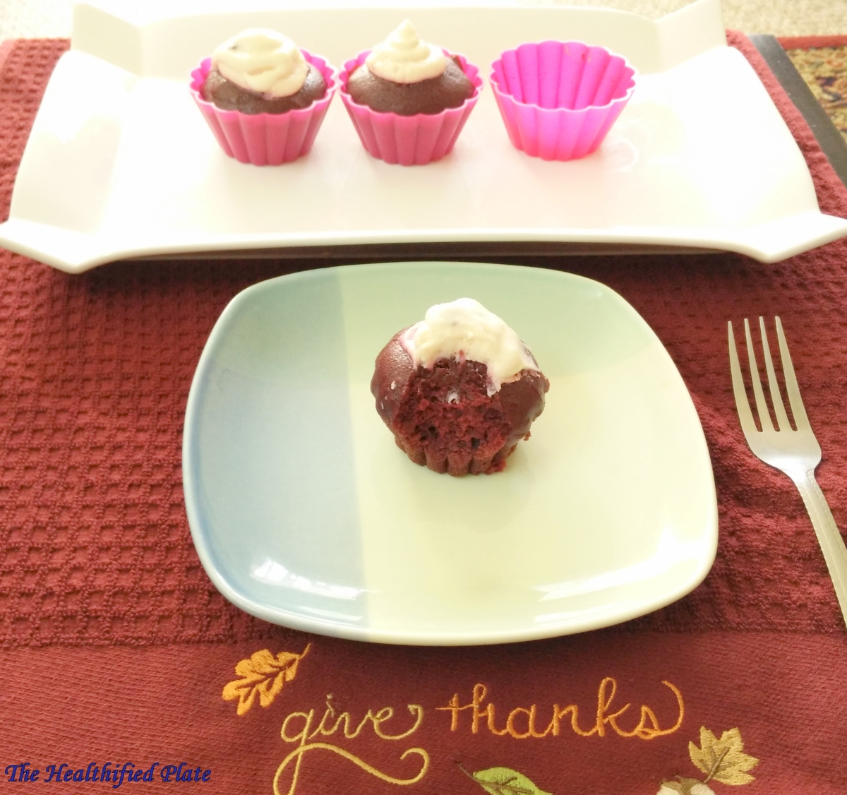 Red Velvet Cupcakes with Finger Millet (Ragi) Flour and Beetroot {Eggless, No Butter}