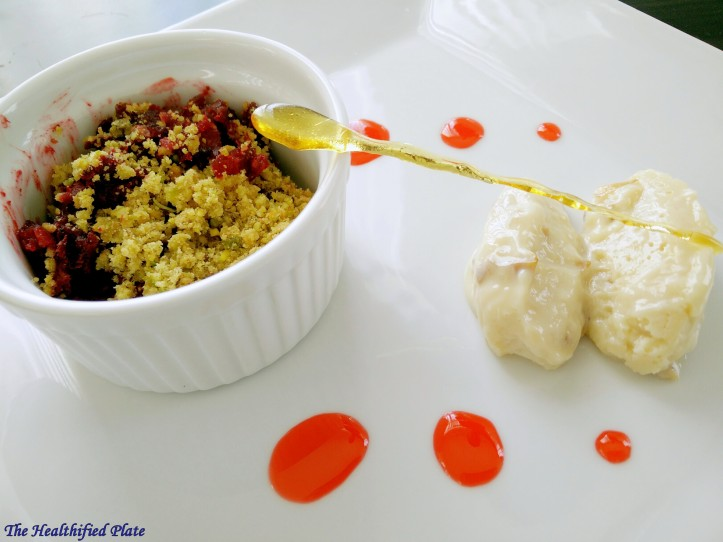 Beetroot halwa and Pistachio Crumble with Gulkand Misti Doi