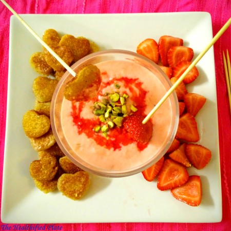 Rose Rabri Fondue with Shahi Tukda Hearts and Strawberries