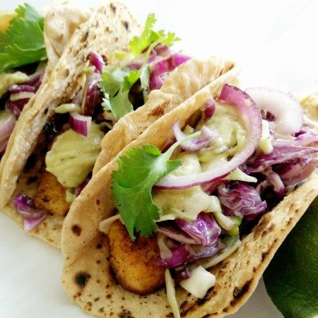 Fish Tacos with Cabbage Slaw and Guac Mayo