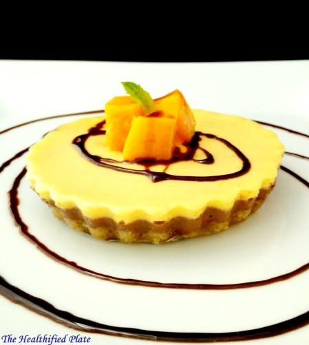 Baked Yogurt Cheesecake with Mango and Dark Chocolate